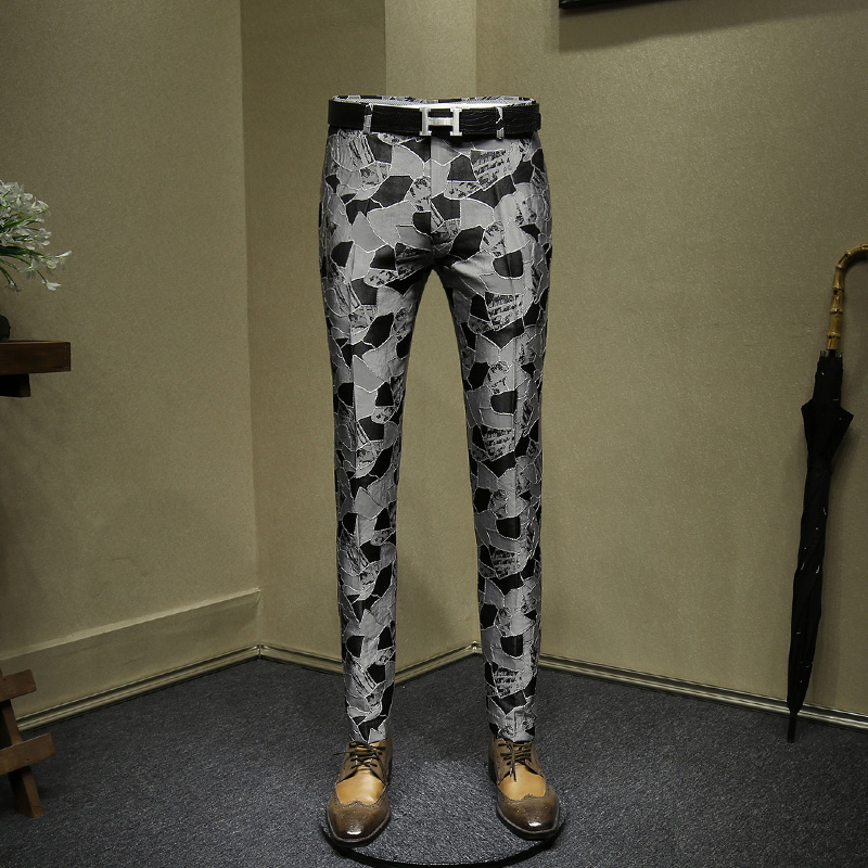 Mens Dress Pants Fashion Jacquard Night Club Wear Young Man Slim Fit Pant Grey Black Suit Men Casual Trousers 36