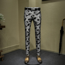 mens dress pants fashion jacquard night club wear young man slim fit pant grey black suit men casual trousers 36