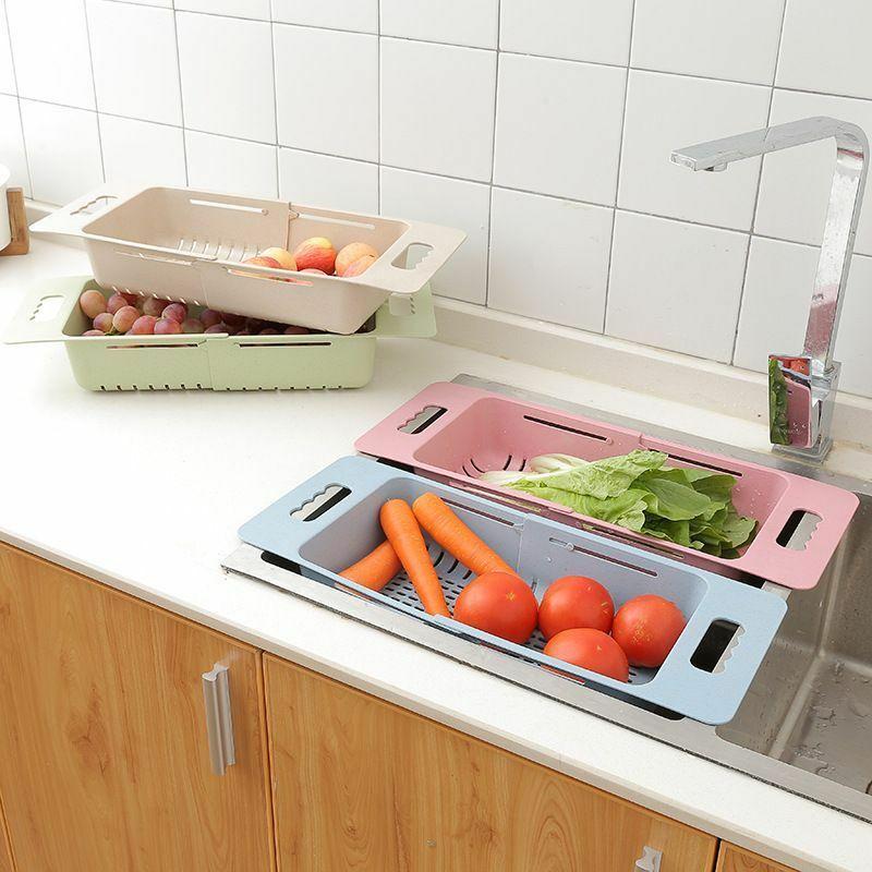 Image 2 - Adjustable Sink Water filtration Rack Kitchen Organizer Plastic Sink Drain Basket Vegetable Fruit Holder Storage Rack-in Racks & Holders from Home & Garden