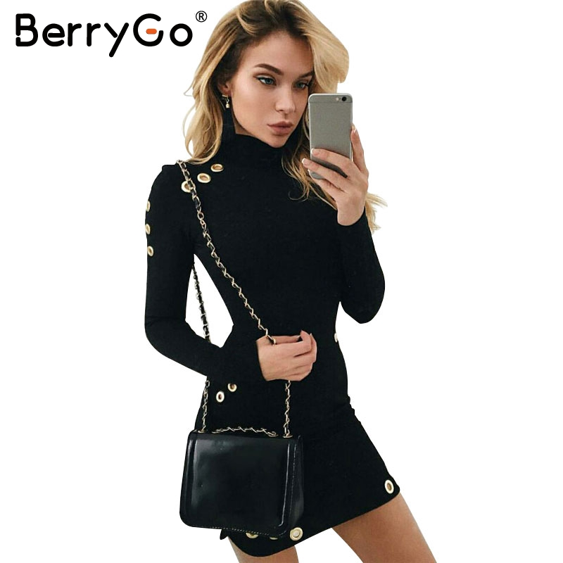 BerryGo Sexy aushöhlen baumwolle bodycon kleid Frauen damen langarm schwarz kleid Elegant partei kurzes kleid vestidos de fiesta