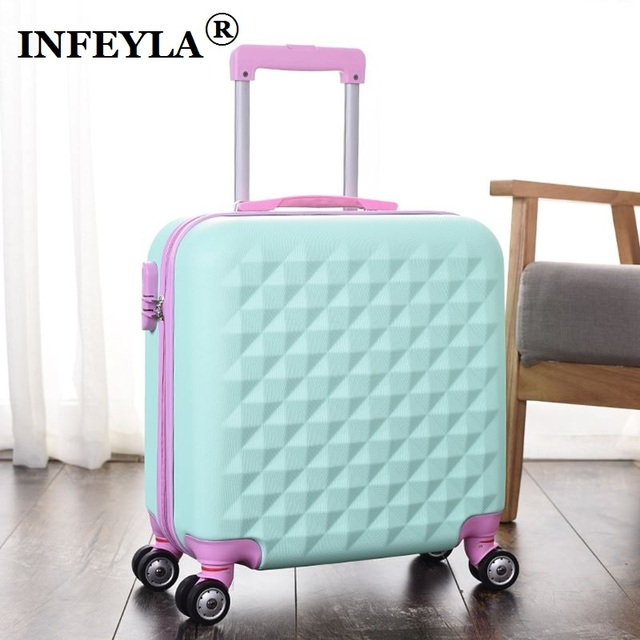 HOT Lovely 18 inches girl students trolley case 14inch Cosmetic bag child cartoon Travel luggage suitcase Boarding box kids gift