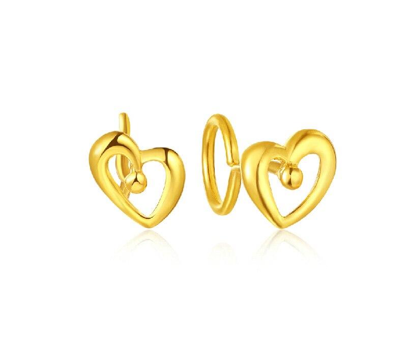 Pur 999 24 K or jaune boucles d'oreilles/belle coeur boucles d'oreilles 1.33g