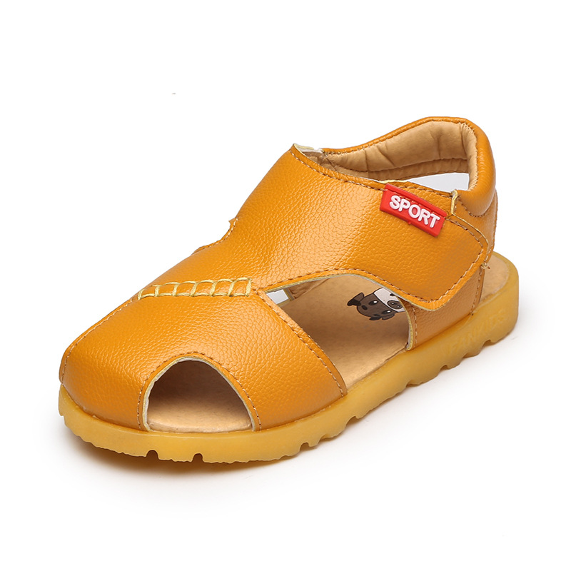 2018 summer new yellow boys and girls 100% leather beef tendons at the end of the head children beach sandals sandals princess