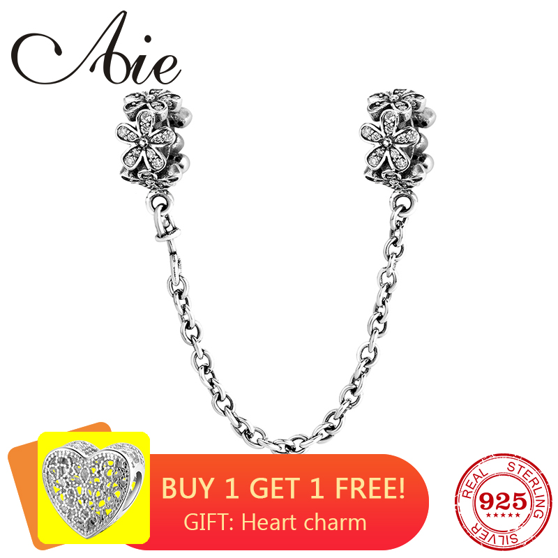 100% Real 925 Sterling Silver Floret DIY For Fashion Safety Chain Beads Fit Original Pandora Charms Bracelet Jewelry Making