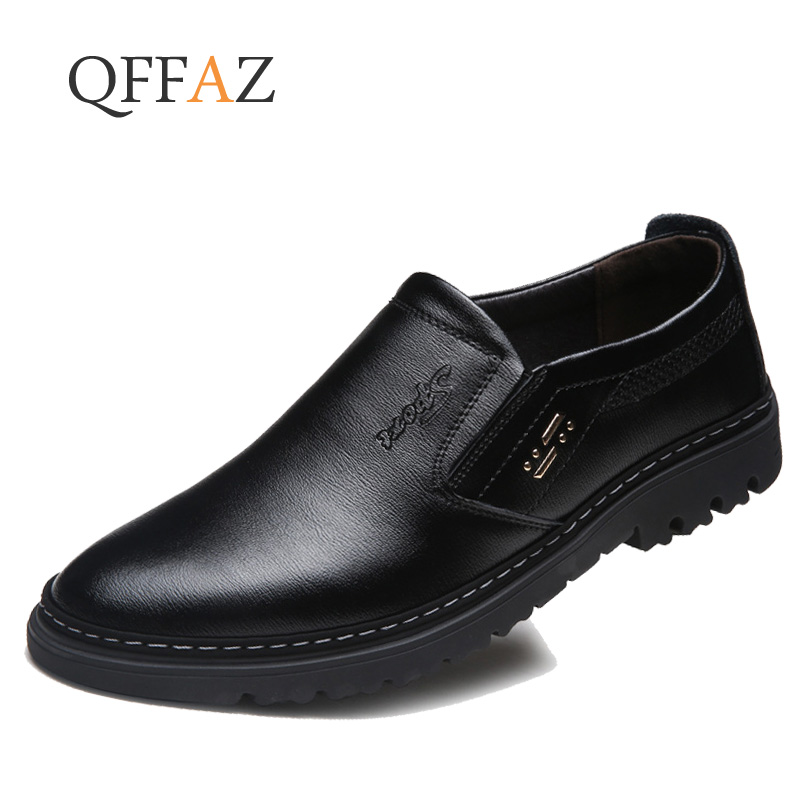 QFFAZ Genuine Leather Men Soft Leather Shoes Slip On Men Loafers Genuine Leather Luxury Brand Men Casual Shoes Flats Moccasins