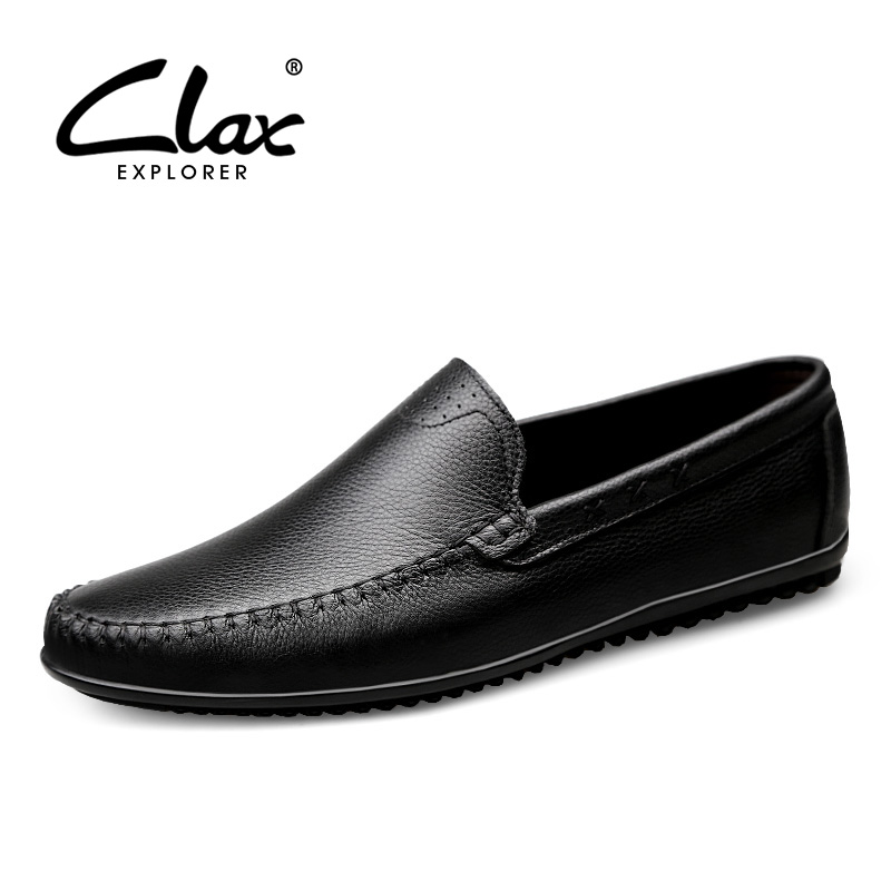 CLAX Mens Leather Shoes Slipons Genuine Man Moccasins Summer Male Loafers Boat Shoe Breathable