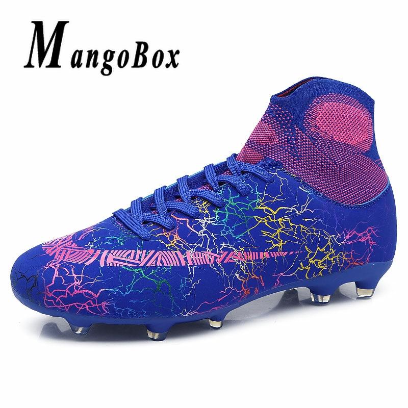 Unisexe chaussures de Football Haute Top Sneakers Chaussette Chaussures De Luxe Marque de Football Chaussures Enfants Football Crampons Long Épi Mens Bleu Bottes