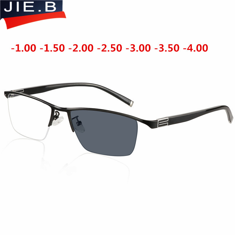 Myopia Sunglasses Photochromic Finished Men Women Myopia Eyeglasses Frame with color lens Sun glasses Myopia Eyewear  1.0  1.5-in Men's Eyewear Frames from Apparel Accessories on AliExpress