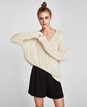 NiceMix 2019 Sexy Chic V-neck Knitted Pearls Sweater Women Jumpers Beading Casual Cotton Female Pullover Stretch Pull Femme