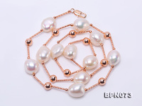 Unique Pearls jewellery Store Natural White Baroque Freshwater Pearl Gold Tube Necklace Top Quality Fashion Wedding Women Gift