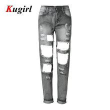2017 High Elastic Fashion Cotton Womens Gray Mid Waist Torn Jeans Ripped Hole Knee Skinny Pencil Pants Slim Capris For Women