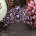 New Arrival Luxuious violet Crystal Queen princess Tiaras Crown Fashion Noble big Diadem For Bride Wedding Hair accessories
