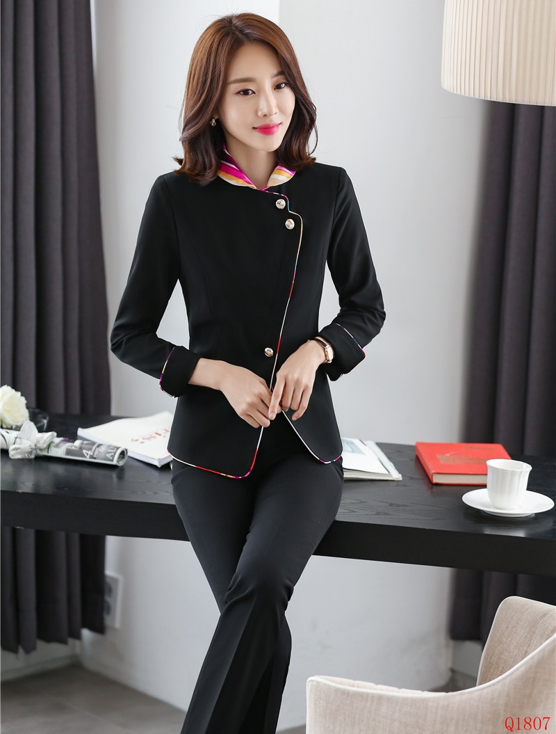 2019 Formal Elegant Women's Ladies Navy Blue Blazer Business Office Work Wear Pant Suits And Jacket Set Office Uniform Styles