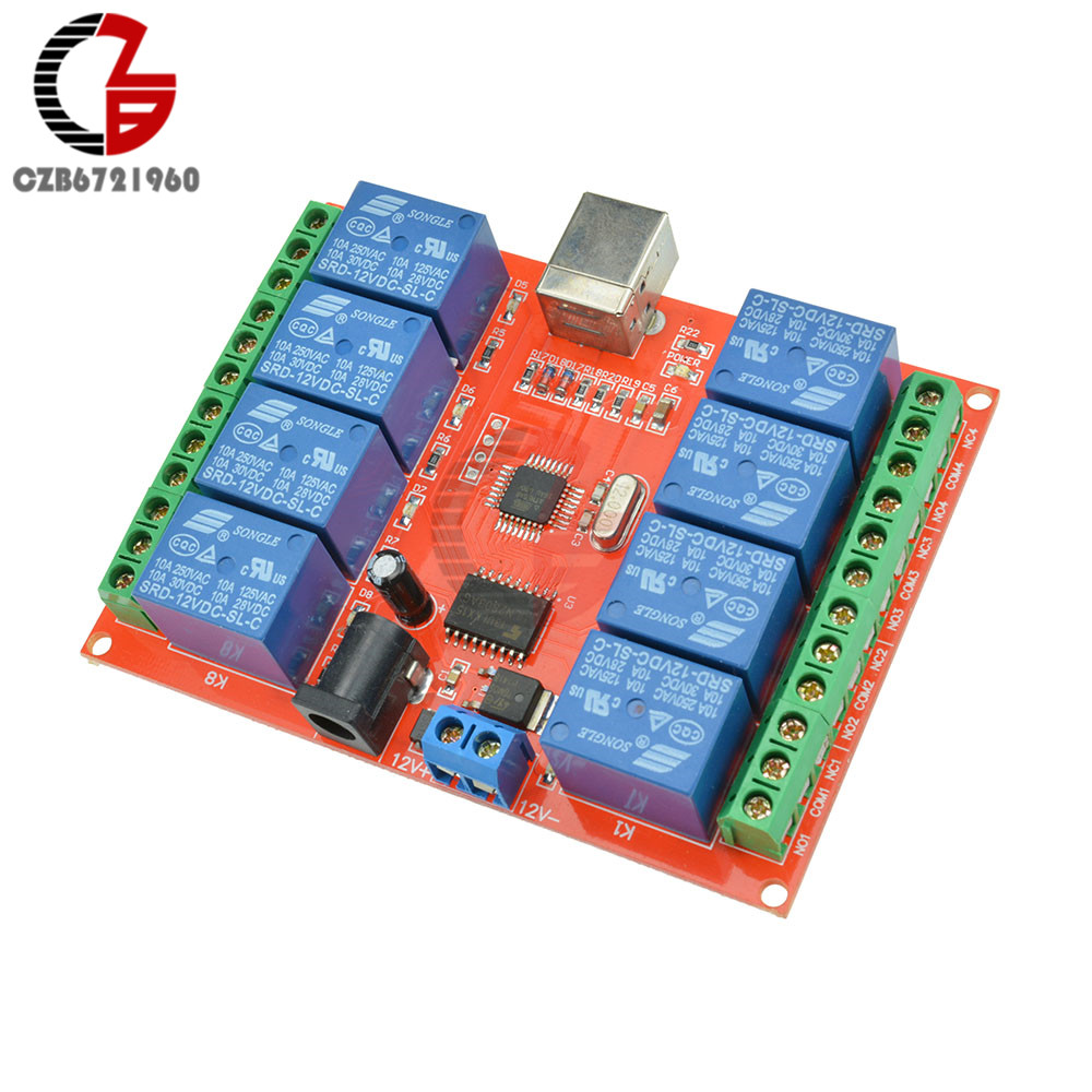 12V 8 Channel Programmable Relay Module USB Computer Control For Smart Home S