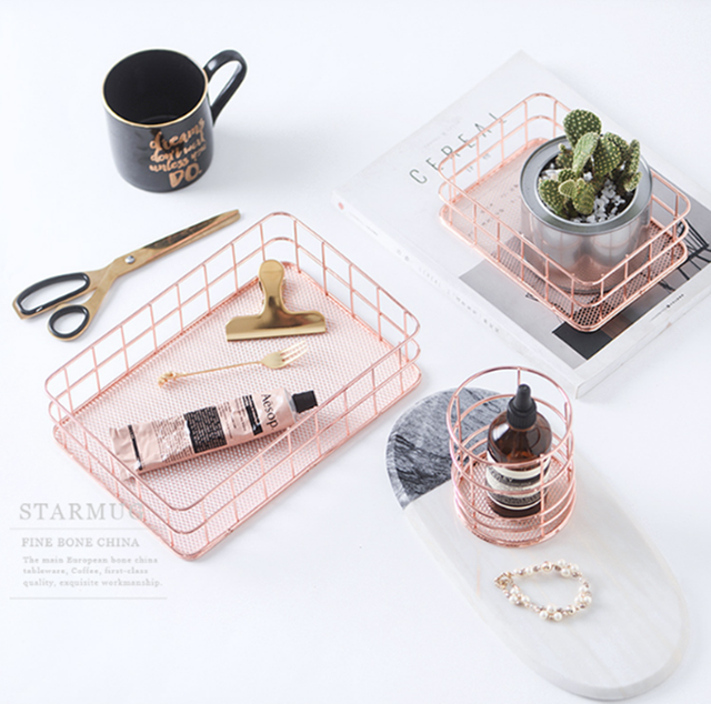 Nordic Simplicity Style Rose Gold Metal Iron Storage Basket Combination Holder Desk Desktop Accessories Stationery Organizer