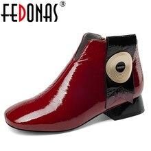 FEDONAS marka tasarım yeni sonbahar kış kadın yüksek topuklu ayakkabı yarım çizmeler tıknaz yüksek topuklu rugan bayan ayakkabı kadın
