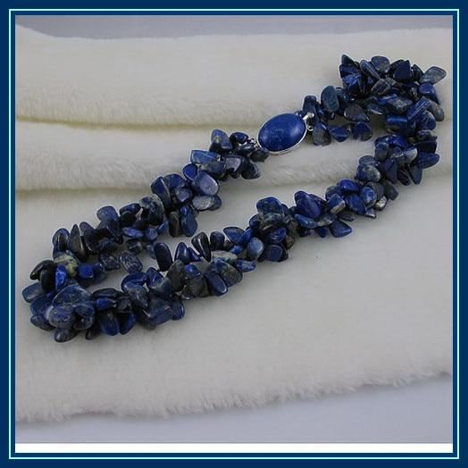 Bijouterie perles uniques, collier Lapis Lazuli bleu 3 rangées, bijoux femme parfait, collier anniversaire fête des mères