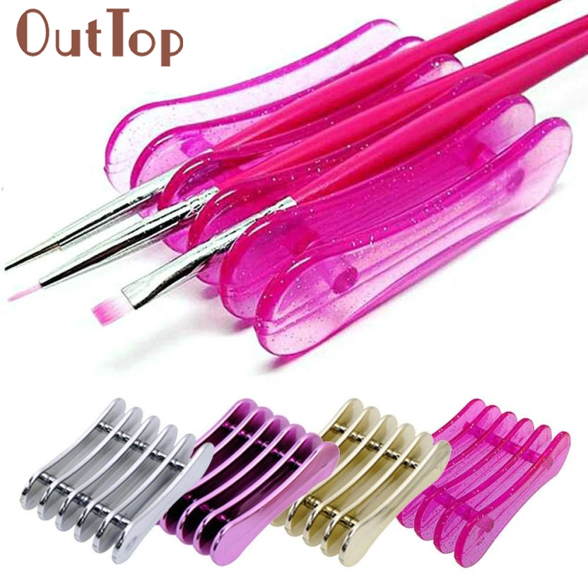 5 Grid Nail Art Penholder Nails Salon Brush Rack Accessory Size Tool Manicure UV Gel Crystal Brush Storage Holder Dropship Feb27