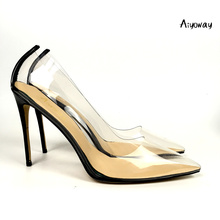Aiyoway Women Shoes Pointed Toe High Heels Pumps Autumn Spring Party Clubwear Slip-On PVC Transparent Ladies Sexy