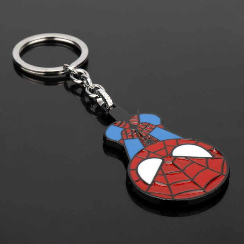 Marvel Avengers Spider - man พวงกุญแจอะนิเมะ Superhero Spiderman รถโลหะจี้แหวนผู้ถือคอสเพลย์อุปกรณ์เสริมของเล่นรูป