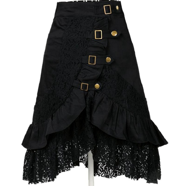 free shipping  Steampunk Skirt And Hem Black Cotton Lace Skirt Punk Rock Gothic Black Skirt Hip Club Wear Vintage