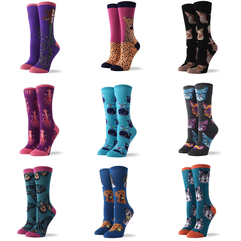Fashion woman funny personality creative woman   socks   mermaid cheetah butterfly whale dog cat   socks   happy woman art cotton   socks
