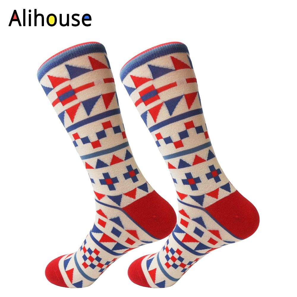 Alihouse Mens Funny Pattern Novelty Casual Dress Wedding Fashion Combed Cotton Colorful Skateboard Socks