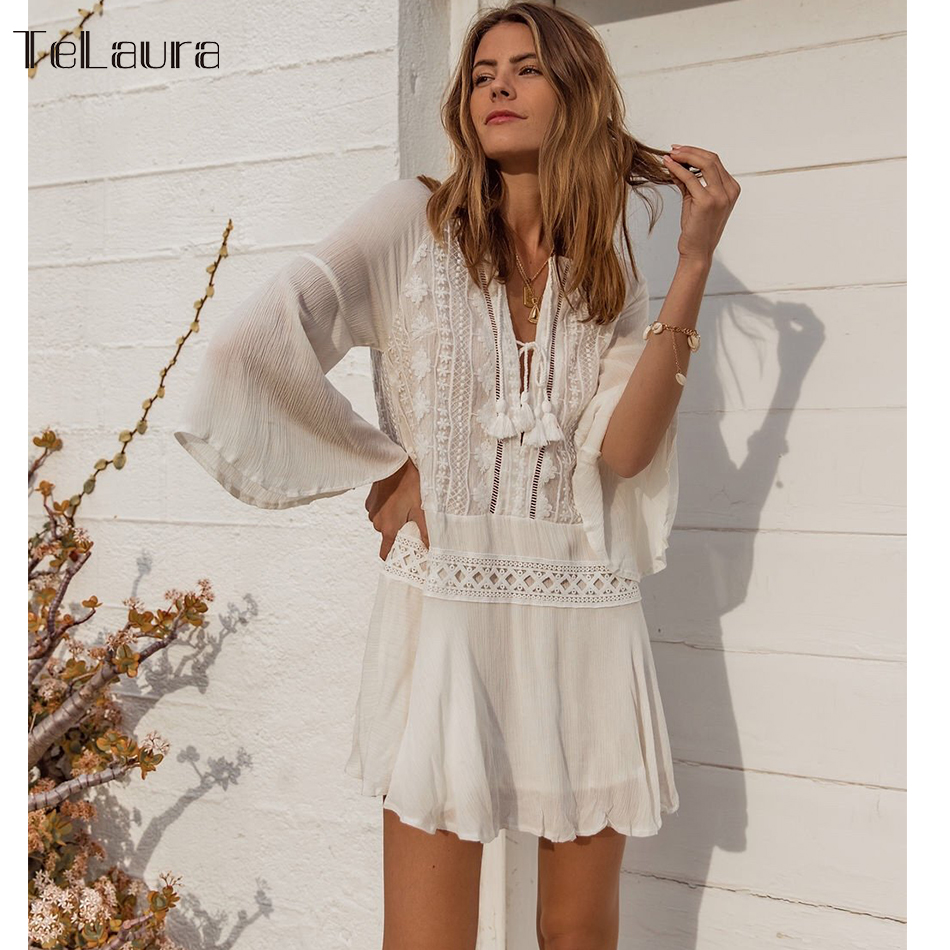 2019 Sexy Beach Cover Up Swimsuit White Lace Tassels Beach Dress Women Bikini Swimwear Bathing Suit Summer Beach Wear Tunic