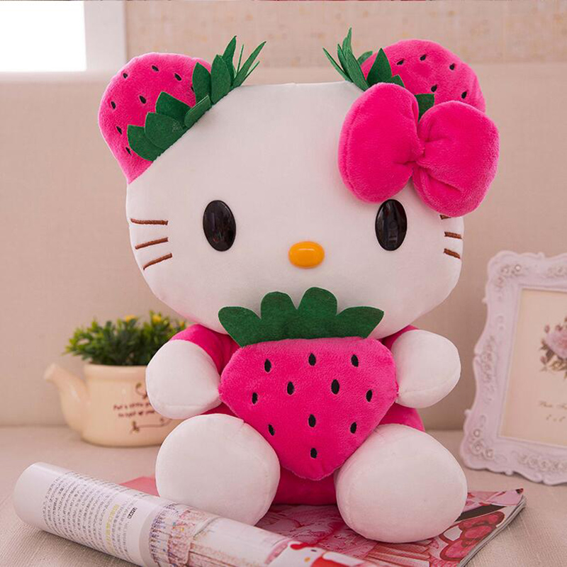 цены  CXZYKING 25CM Lovely Strawberry Hello Kitty Plush Toys Stuffed Soft Cartoon KT Doll Plush Doll Birthday Gift for Kids Girls  Toy
