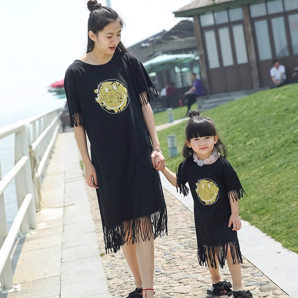 2017 Summer mother daughter dresses long maxi dress family matching clothes Cotton family look mother and daughter clothes 3-9T