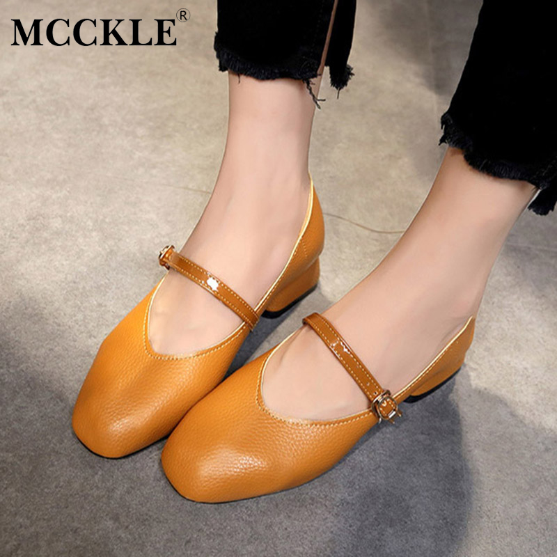 MCCKLE Female Buckle Square Heel Autumn Chunky Heel Office Low Heels 2017 Women's Fashion Casual Black Slip On Comfortable Shoes 2017 autumn fashion black genuine leather chunky heels round toe dress office career zip square heel shoes chaussure shofoo