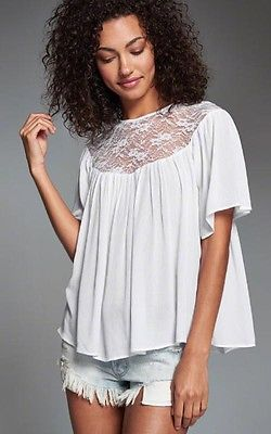 Lace Top Tee Short Sleeve Casual Loose Blouse