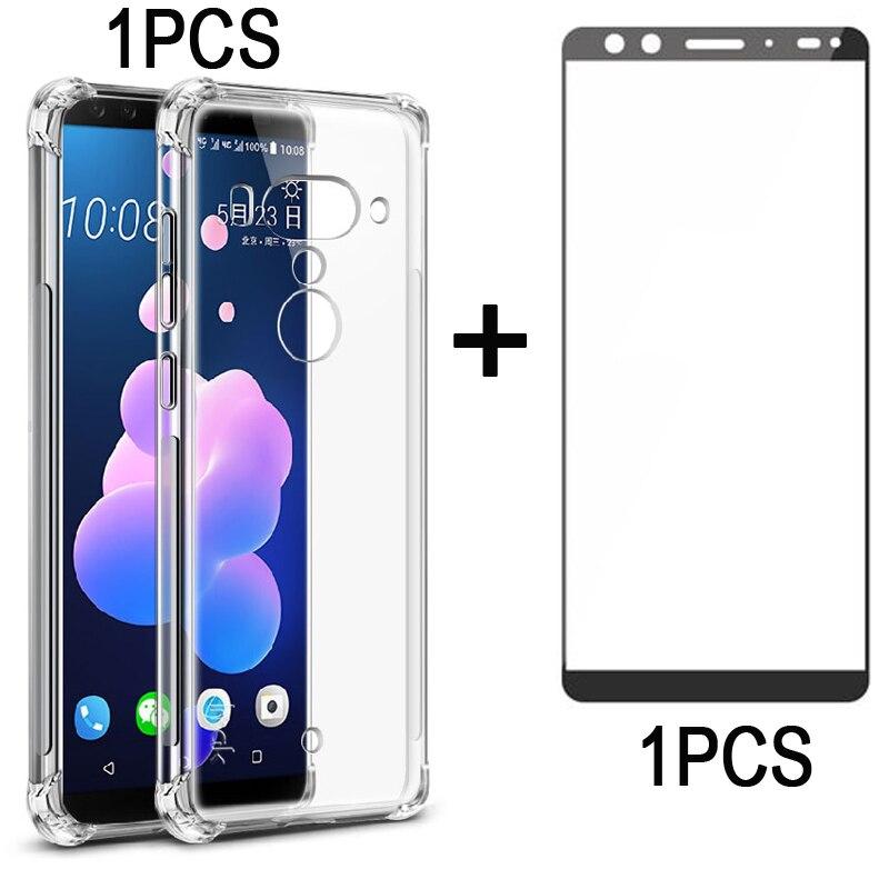 1 stücke Für HTC U12 PLUS volle Körper Bildschirm schutz gehärtetem glas film + 1 stücke Gasbag Fall Weichen Zurück abdeckung für HTC U12PLUS