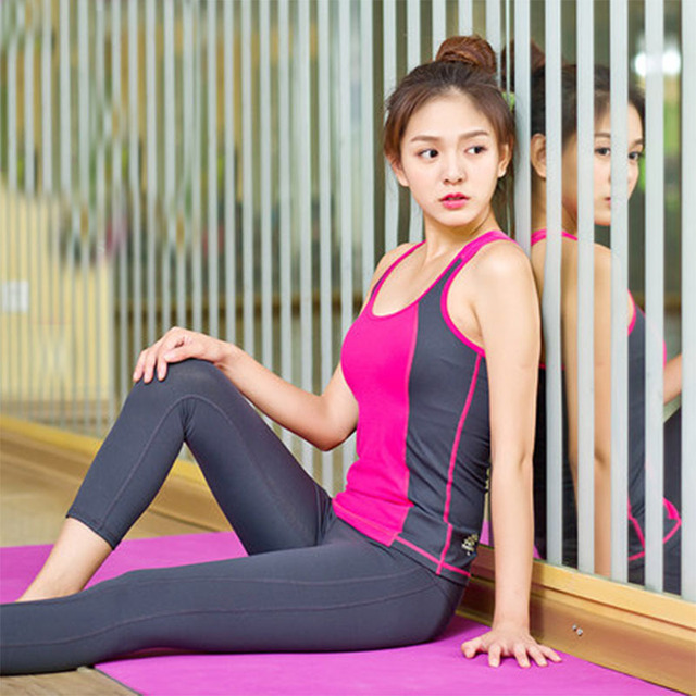 Brand Quick Dry 2016 New Women Yoga Clothes Sets Tight Quality Fitness Clothing Professional Running Suits For Lady KK246