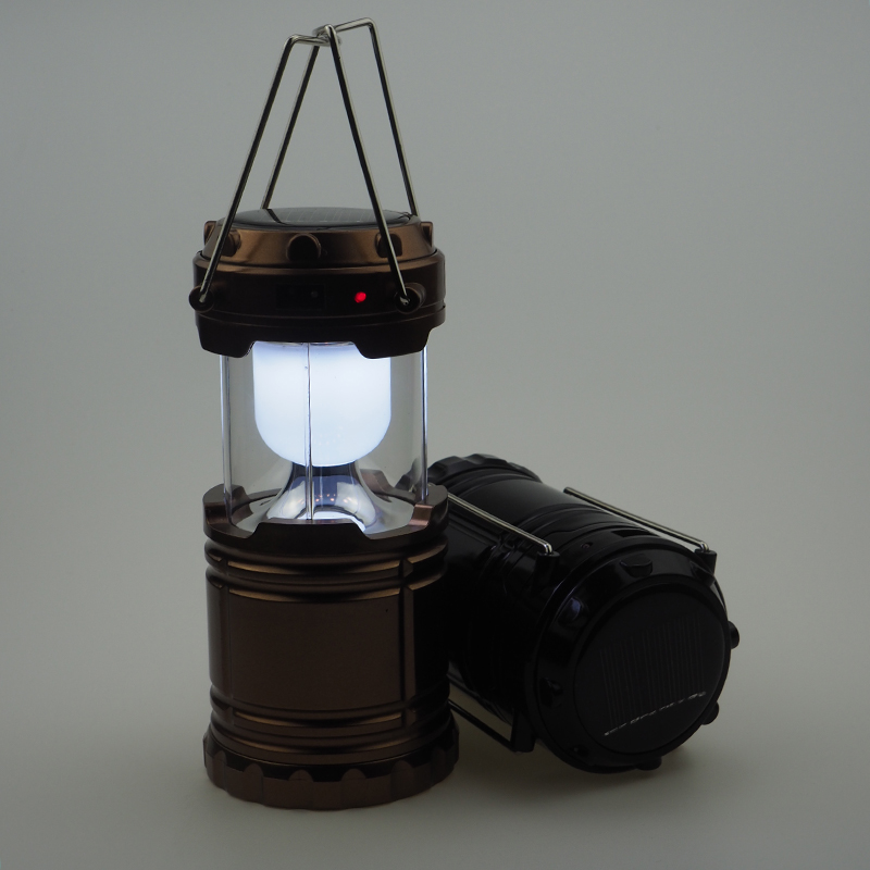 Camping Lantern Solar 6 LEDs Rechargeable Hand Lamp Collapsible Tent Lights for Outdoor Lighting Hiking Camping Water Resistant