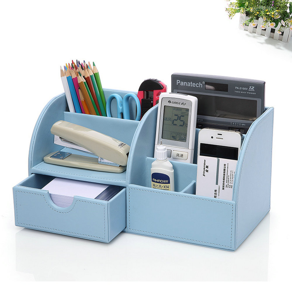 Pu leather desk organizer pen pencil business cards remote control 1 2 3 4 5 reheart Choice Image