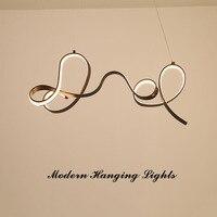Designer Coffee Color Modern Led Pendant Lights Kitchen Living Dinging Room Fixtures Coffee Finish LED Hanging Pendant Lamp
