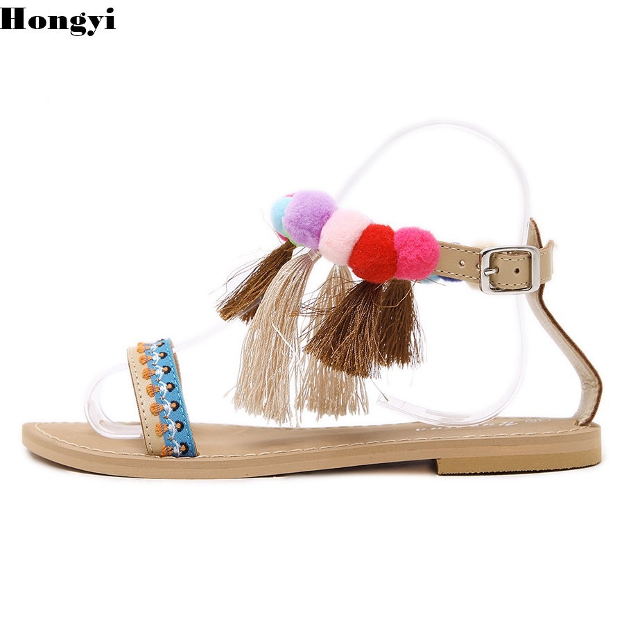 Summer New Colorful Fringe Flower Ball PomPom Sandals Sandals Flat with Roman Gladiator High Lace Thong Flip Flop Shoes Women brand designer faux leather strappy roman goth gladiator thong lace up bandage sandals knee high boots flat shoes free shipping