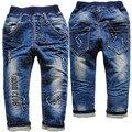 3764 19-24 месяцев повседневная брюки брюки девочки мальчики ребенок джинсы детские мягкие темно-синий apring осень письмо отверстие