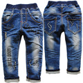 3764  19-24 months casual  pants  trousers  baby  girls  boys  child jeans  kids  soft  navy  blue apring  autumn  letter hole