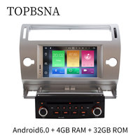 TOPBSNA Android 6.0 Car DVD Player For Citroen C4 C Triomphe C Quatre 2004 2005 2006 2007 2008 2009 1 Din WiFi GPS Navigation FM