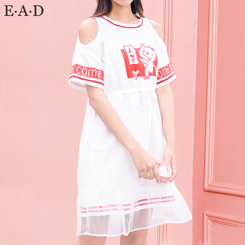 Sweet cotton straight long tshirt woman summer short sleeve one-piece cute long t-shirt loose off the shoulder tops plus size