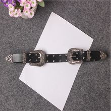 [TWOTWINSTYLE] 2017 korea vintage retro carved metal double buckle belt genuine leather belts female all-match women fashion