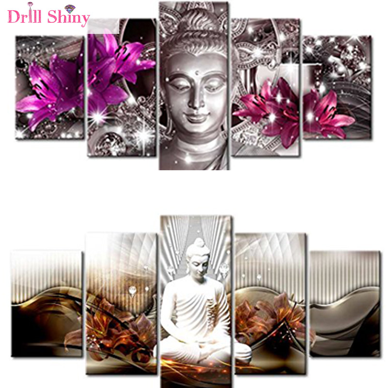 5 PCS Multi-picture Diamond Painting Buddha Art Gifts Room Decor Diamond Mosaic Embroidery Religion Rhinestones Pattern MF20