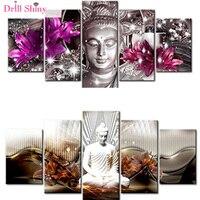 5 PCS Multi Picture Diamond Painting Buddha Art Gifts Room Decor Diamond Mosaic Embroidery Religion Rhinestones