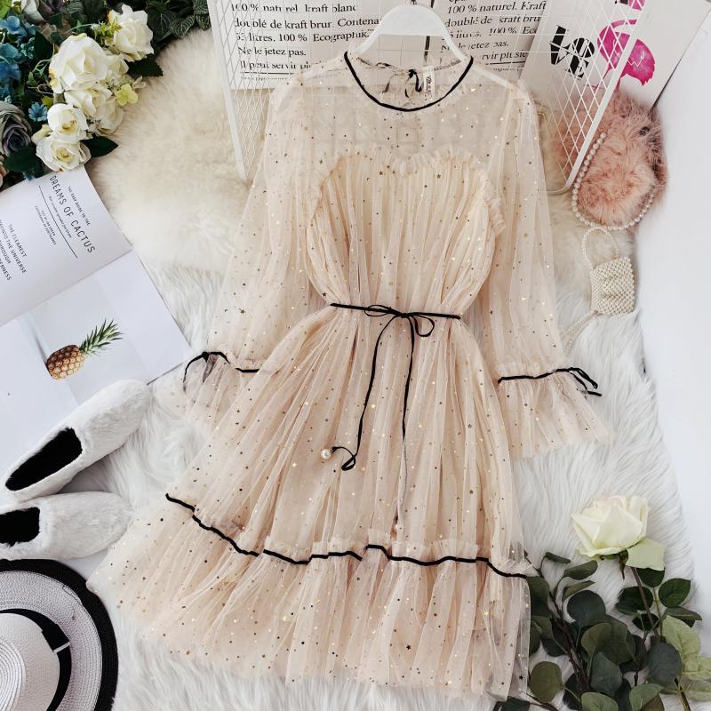 HISUMA spring new women Star sequins gauze flare sleeve lace-up fairy Princess dress female elegant o-neck mesh puff dresses 1