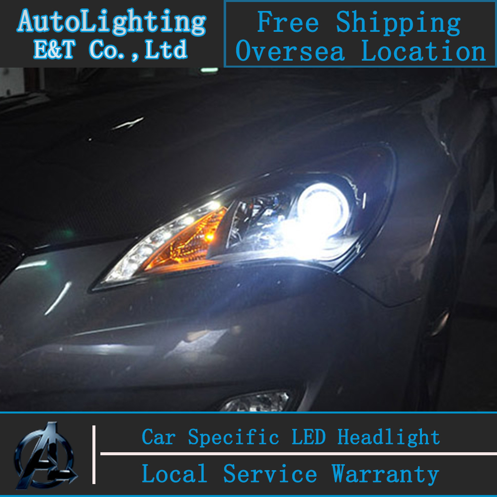 Car Styling For Hyundai Rohens Coupe Headlight assembly 2011-2013 Genesis LED Headlight angel eye led drl H7 with hid kit 2pcs.