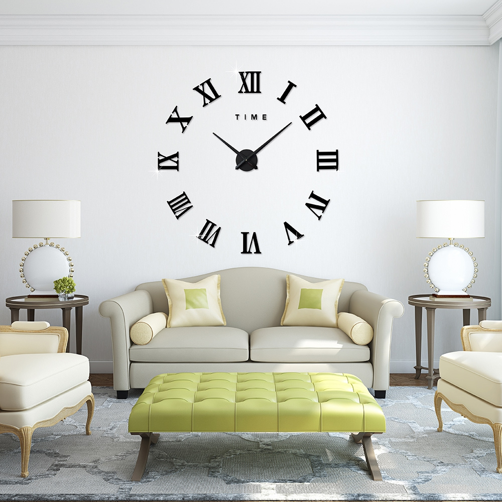 3d big size wall clock mirror sticker diy large roman wall clocks home decoration meeting room. Black Bedroom Furniture Sets. Home Design Ideas