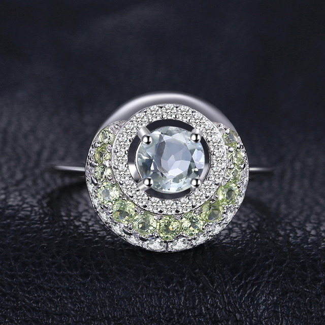 JewelryPalace Round 1.4ct Natural Green Amethyst Peridot Halo Ring 925 Sterling Silver Fine Jewelry Anniversary Rings For Women