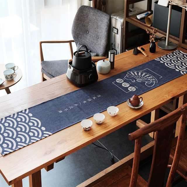 Chinese Style Cotton Cloth Table Runner Office Blue Fan Pattern Tea Mat Long Cover Desk